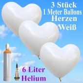 Ballons Helium Set Hochzeit, 3 weiße Herzballons, 1 Meter, mit Helium-Ballongas