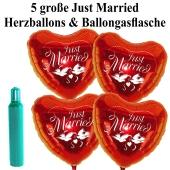 Ballons Helium Set Hochzeit: 5 große Herzluftballons Just Married mit Ballongasflasche