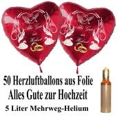 Ballons Helium Set Midi, 50 Herzluftballons aus Folie in Rot, Alles Gute zur Hochzeit, 5 Liter Mehrweg Ballongas
