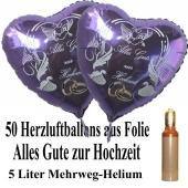 Ballons Helium Set Midi, 50 Herzluftballons aus Folie in Flieder, Alles Gute zur Hochzeit, 5 Liter Mehrweg Ballongas