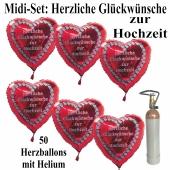 Ballons Helium Midi Set 50: Herzliche Glückwünsche zur Hochzeit