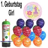 Luftballons Helium Set Mini zum 1. Geburtstag eines Mädchens