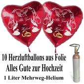 Ballons Helium Set Mini, 10 Herzluftballons aus Folie in Rot, Alles Gute zur Hochzeit, 1 Liter Mehrweg Ballongas