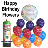 Ballons Helium Set kindergeburtstag, Happy Birthday Flowers