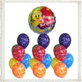 Ballons Helium Set Mini Kindergeburtstag, 1 Luftballon aus Folie, Tweety Happy Birthday, 10 Luftballons aus Latex, Herzlichen Glückwunsch
