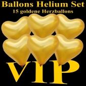 Ballons Helium Set VIP Party, 15 goldene Herzballons mit Ballongas Helium