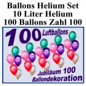 Luftballons Helium Set zum 100., Ballons mit der Zahl 100 mit der 10 Liter Heliumflasche zur Ballondekoration auf der 100-Jahr-Feier