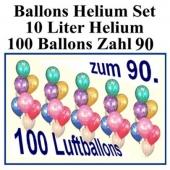 Luftballons Helium Set zum 90., Ballons mit der Zahl 90 mit der 10 Liter Heliumflasche zur Ballondekoration auf der 90-Jahr-Feier