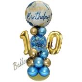 LED Ballondeko zum 10. Geburtstag in Blau und Gold