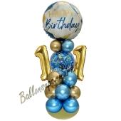 LED Ballondeko zum 11. Geburtstag in Blau und Gold