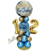 LED Ballondeko zum 12. Geburtstag in Blau und Gold