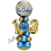 LED Ballondeko zum 13. Geburtstag in Blau und Gold