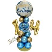 LED Ballondeko zum 14. Geburtstag in Blau und Gold