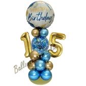 LED Ballondeko zum 15. Geburtstag in Blau und Gold