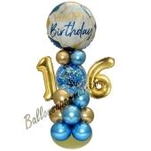 LED Ballondeko zum 16. Geburtstag in Blau und Gold