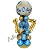 LED Ballondeko zum 17. Geburtstag in Blau und Gold