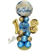 LED Ballondeko zum 18. Geburtstag in Blau und Gold