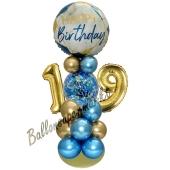 LED Ballondeko zum 19. Geburtstag in Blau und Gold