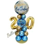LED Ballondeko zum 20. Geburtstag in Blau und Gold