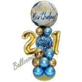 LED Ballondeko zum 21. Geburtstag in Blau und Gold