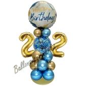 LED Ballondeko zum 22. Geburtstag in Blau und Gold
