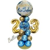 LED Ballondeko zum 23. Geburtstag in Blau und Gold