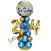 LED Ballondeko zum 24. Geburtstag in Blau und Gold