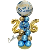 LED Ballondeko zum 26. Geburtstag in Blau und Gold