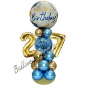 LED Ballondeko zum 27. Geburtstag in Blau und Gold