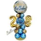 LED Ballondeko zum 28. Geburtstag in Blau und Gold