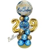 LED Ballondeko zum 29. Geburtstag in Blau und Gold