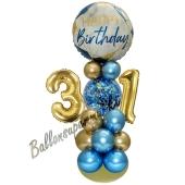 LED Ballondeko zum 31. Geburtstag in Blau und Gold