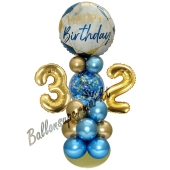 LED Ballondeko zum 32. Geburtstag in Blau und Gold