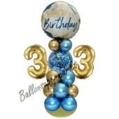 LED Ballondeko zum 33. Geburtstag in Blau und Gold