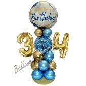 LED Ballondeko zum 34. Geburtstag in Blau und Gold