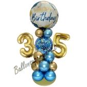 LED Ballondeko zum 35. Geburtstag in Blau und Gold