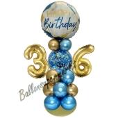 LED Ballondeko zum 36. Geburtstag in Blau und Gold