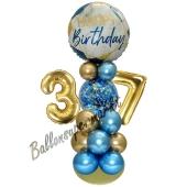 LED Ballondeko zum 37. Geburtstag in Blau und Gold