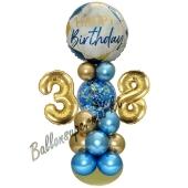 LED Ballondeko zum 38. Geburtstag in Blau und Gold