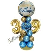 LED Ballondeko zum 39. Geburtstag in Blau und Gold
