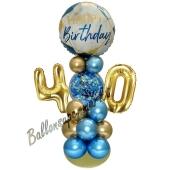 LED Ballondeko zum 40. Geburtstag in Blau und Gold