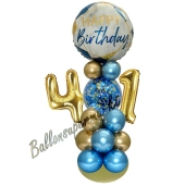 LED Ballondeko zum 41. Geburtstag in Blau und Gold