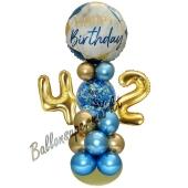 LED Ballondeko zum 42. Geburtstag in Blau und Gold