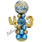 LED Ballondeko zum 43. Geburtstag in Blau und Gold