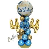LED Ballondeko zum 44. Geburtstag in Blau und Gold