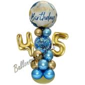 LED Ballondeko zum 45. Geburtstag in Blau und Gold