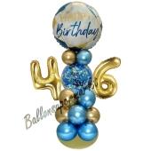LED Ballondeko zum 46. Geburtstag in Blau und Gold