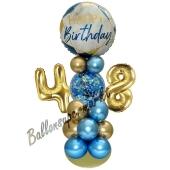 LED Ballondeko zum 48. Geburtstag in Blau und Gold
