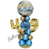 LED Ballondeko zum 49. Geburtstag in Blau und Gold