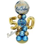 LED Ballondeko zum 50. Geburtstag in Blau und Gold